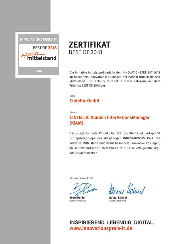 Zertifikat Best of Mittelstand 2018