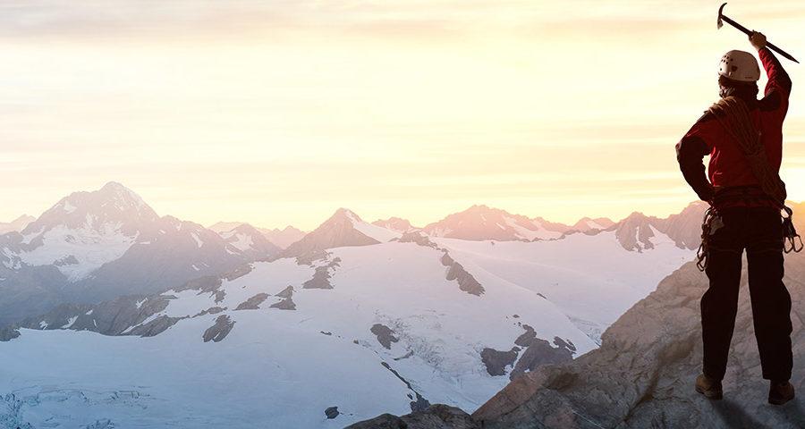 Bergwelt auf dem Gipfel Banner